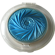 SOLD Eleanor Hamlin MACO Flapjack Lucite Compact Blue Sculpted Design