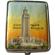 Vintage Souvenir Baton Rouge State Capital Powder and Rouge Compact 1940s