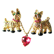 Vintage Twin Scottie Dogs Double Pin With Pink Rhinestone Heart on Chain 1950s / Scatter Pin .