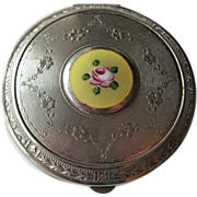 Vintage 1920s Guilloche Yellow Enamel Floral Compact / Bridesmaid Gift / Vanity Item / Purse A