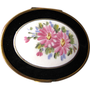 Vintage Powder and Rouge Compact Porcelain and Metal With Rose Design / Vanity Accessory / ...