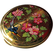 Vintage Powder Compact With Floral Hibiscus and Bird Of Paradise Design and Guilloche Back / .