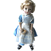 "Hard Plastic 14"" Vintage Doll With Alice In Wonderland Outfit"