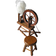 Miniature Early American Spinning Wheel and Stool / Dollhouse 1800s Wood Turned Spinning Wheel