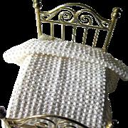 Handmade White Popcorn Afghan for Dollhouse / Dollhouse Furniture / Miniature Dollhouse Bedroo