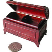 Miniature Dollhouse Cherry Wood Hope Chest / Barrel Lidded Chest With Removable Tray / Dollhou