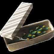 Miniature Dollhouse Box of Long Stem Yellow Roses / Dollhouse Furniture / Miniature Accessory