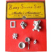 Miniature Dollhouse Baby Pewter Accessory Set / Dollhouse Furniture / Miniature Furniture