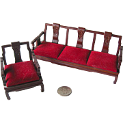 Miniature Dollhouse Vintage Sofa and Chair With Velvet Cushions / Dollhouse Furniture / Miniat
