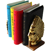 Vintage Miniature Books With Indian Head Bookstand / Dollhouse Doll Furniture / Miniature Furn