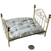 Miniature Antique Brass Bed With Mattress / Doll House Furniture / Miniature Furniture / Doll