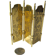 Miniature Dollhouse Brass Room Screen With Japanese Scenes / Doll House Furniture / Miniature