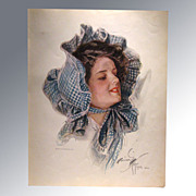 REDUCED Harrison Fisher 1909 Vintage Print Lady in Bonnet Home Decor Victorian Print