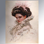 REDUCED Harrison Fisher 1909 Vintage Print Victorian Lady in Lacy Gown Home Decor Victorian Pr