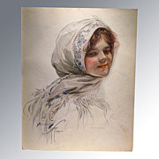 REDUCED Harrison Fisher 1909 Vintage Print Victorian Girl in Scarf Home Decor Victorian Print