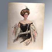 REDUCED Harrison Fisher 1909 Vintage Print Victorian Woman At The Ball Home Decor Victorian Pr