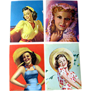 Original 1950s Pin Up Girl Gum Labels Set Of Four