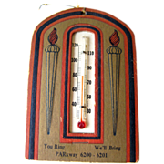 Gilded Advertising Thermometer Card / Paper Ephemera / Home Decor / Advertising Card / Housewa