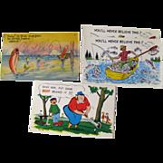 Four Vintage Humorous Sport Postcards / Vintage Ephemera / Souvenir Post Card / Fishing Postca