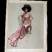 Victorian Woman in Pink Dress Harrison Fisher 1909 Vintage Original Print / Home Decor / Valen