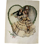 Victorian Couple In Love Harrison Fisher 1909 Vintage Original Print / Home Decor / Valentines