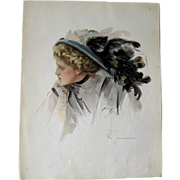 Victorian Woman in Large Hat Harrison Fisher 1909 Vintage Original Print / Home Decor / Valent