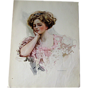 Victorian Woman in Lacy Dress Harrison Fisher 1909 Vintage Original Print / Home Decor / Valen