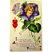Vintage Valentine Post Card With Morning Glory Lady and Poem / Unused Postcard / Valentines ..