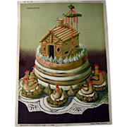 Antique German Decorative Cake Print by George Ritzer / Home Decor / Wall Hanging / Antique Il