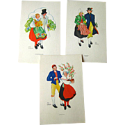 Aina Stenberg Colorful Vintage Postcard Lot of Three / Sweedish Artist / Vintage Ephemera / Ar