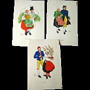 Aina Stenberg Colorful Vintage Postcard Lot of Three / Sweedish Artist / Vintage Ephemera / Ar