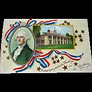 George Washington Birthday Postcard / 1900s Post Card / Vintage Ephemera / Patriotic Postcard