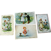 Lot of Four Children Illustrated Postcards / vintage Post Cards / Vintage Ephemera / Birthday