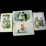 Lot of Four Children Illustrated Postcards / vintage Post Cards / Vintage Ephemera / Birthday