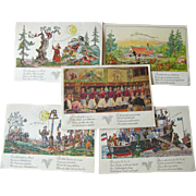 German American Cruise Line Illustrated Post Cards Lot of Five / Hamburg-Amerika Linie / Vinta