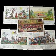 German American Cruise Line Illustrated Post Cards Lot of Five / Hamburg-Amerika Linie / Vinta