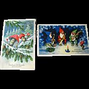 Lot of Two Gnome and Mushroom Illustrated Postcards / Vintage Post Cards / Vintage Ephemera /