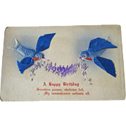 Blue Bird Ribbon Winged Bird Birthday Postcard / Vintage Post Cards / Vintage Ephemera / Birth
