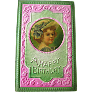 Happy Birthday Postcard With Celluloid Insert - Embossed Post Card - Victorian Postcard - ...