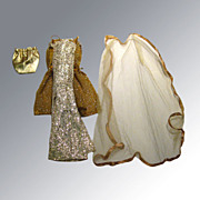 SOLD Vintage Barbie Doll Gold Glitter Outfit