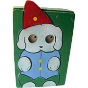 SOLD Circus Dog Bank With Movable Eyes / Wooden Toy Bank