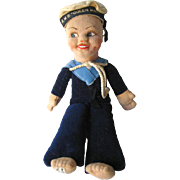 Jollyboy Sailor Doll by Norah Wellings From The RMS Queen Mary 1940s / Vintage Cloth Doll / Na