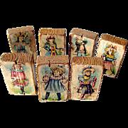 Victorian Lithograph Children Picture and Letter Block Set of Seven / Antique Wooden Blocks