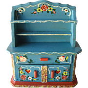 Miniature China Cabinet / Bavarian Style Hutch Miniature Hand Painted China Cabinet by Dora Ku