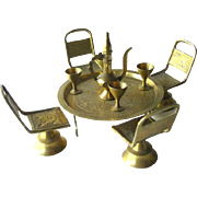Indian Brass Table Set With Tea Serving / Vintage Dollhouse Furniture