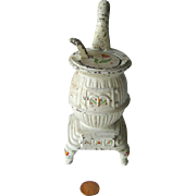 Dollhouse Miniature Cast Iron Pot Belly Stove with Floral Motif / Dollhouse Furniture