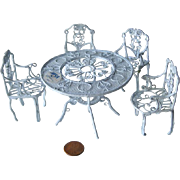 Wire Dollhouse Patio Table And Chairs Set with Original MSR Importers Label / Dollhouse Furnit