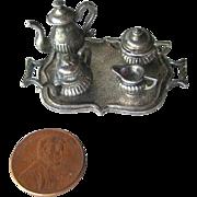 Miniature WPAW England Tea Set on Tray / Dollhouse Pewter / Wales Association Of Pewter Works