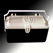 Box Purse by Merle Norman with Classical Figures -- Black & White