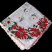 Vintage Christmas Holiday Poinsettia Handkerchief / Hanky / Hankie / Vanity Item / Womans Gift